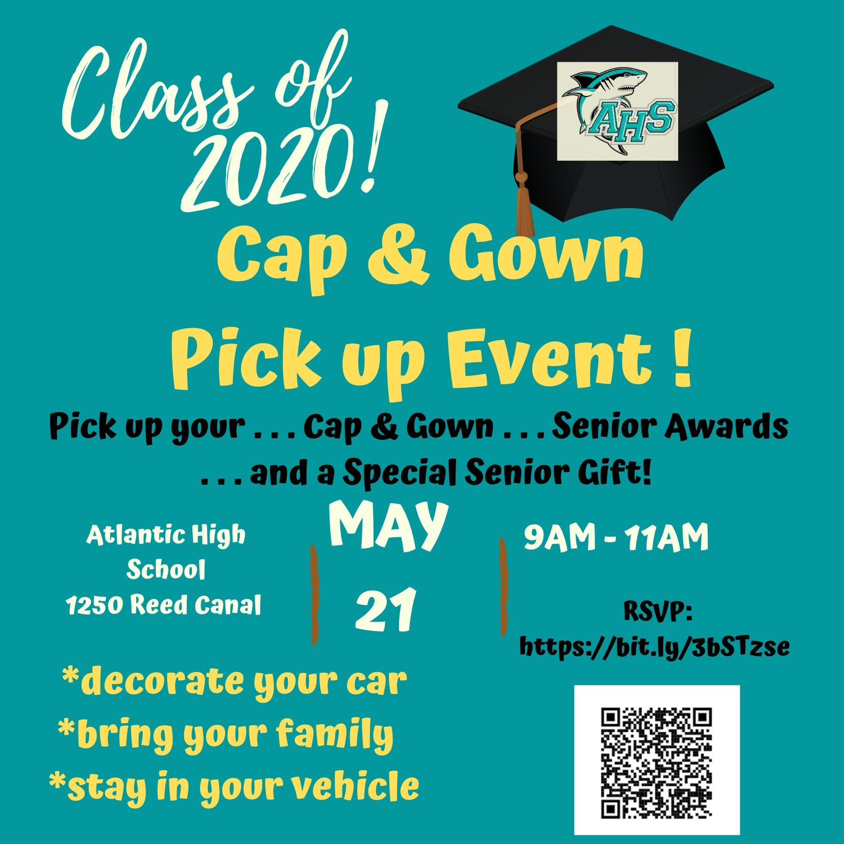 Cap & Gown distribution from 9am-11am